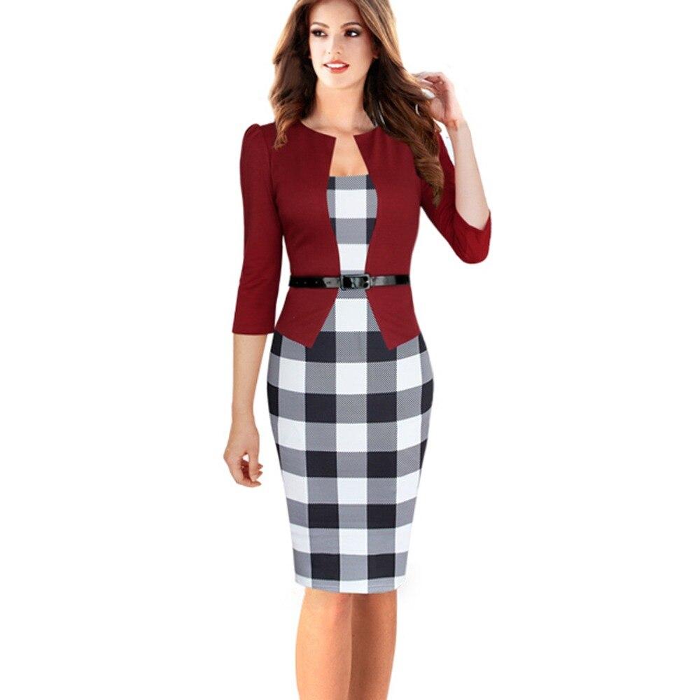 HLBCBG Womens Elegant Faux Jacket One Piece Belted font b Tartan b font Lace Patchwork Wear