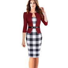 HLBCBG Womens Elegant Faux Jacket One-Piece Belted Tartan Lace Patchwork Wear to Work Business Pencil Sheath Bodycon Dress 3002