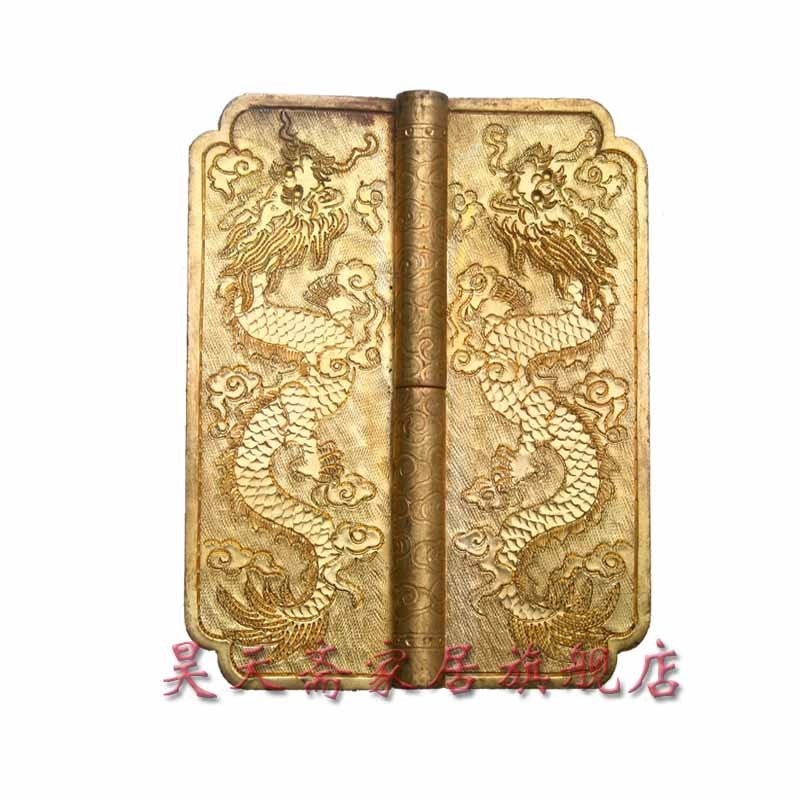 [Haotian vegetarian] antique copper fittings / carved hinge / copper hinge / Chinese decoration accessories HTF-053 [haotian vegetarian] antique chinese brass coat detachable door hinge hinge small 9cm