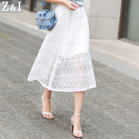 AKM Womens 2017 High Quality New Summer New Heavy Process Lace Skirt Sweet Style Elasticity Waist