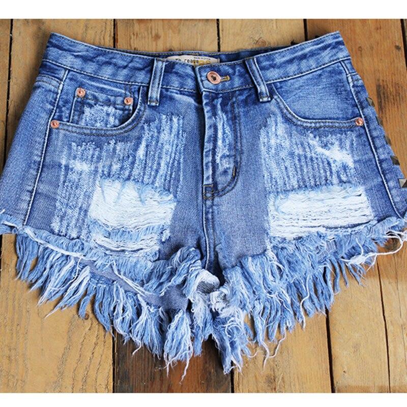 Vogue Femelle Pictures Jambe Burr As gray Blue Shorts Occasionnel Lâche Jeans Femmes Vêtements Pop Large Rivet Taille Haute Courts Lavé Nouvelle Denim Belle Trou 5gqwZp5