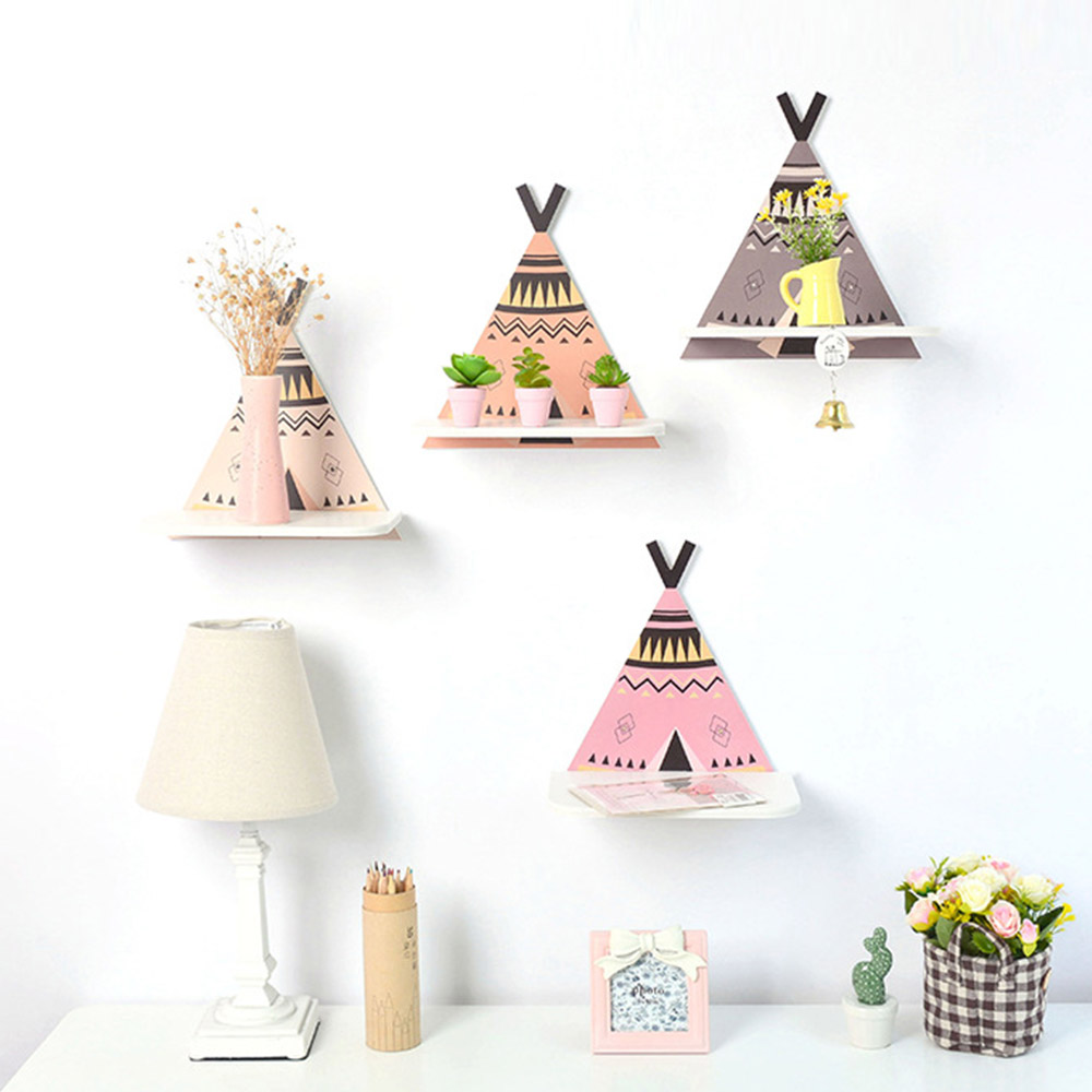 Nordic Wooden Crafts Storage Rack Tent Wall Shelf Wood Hanging Clapboard Kids Home Room Bedroom Decoration Ornament Gift
