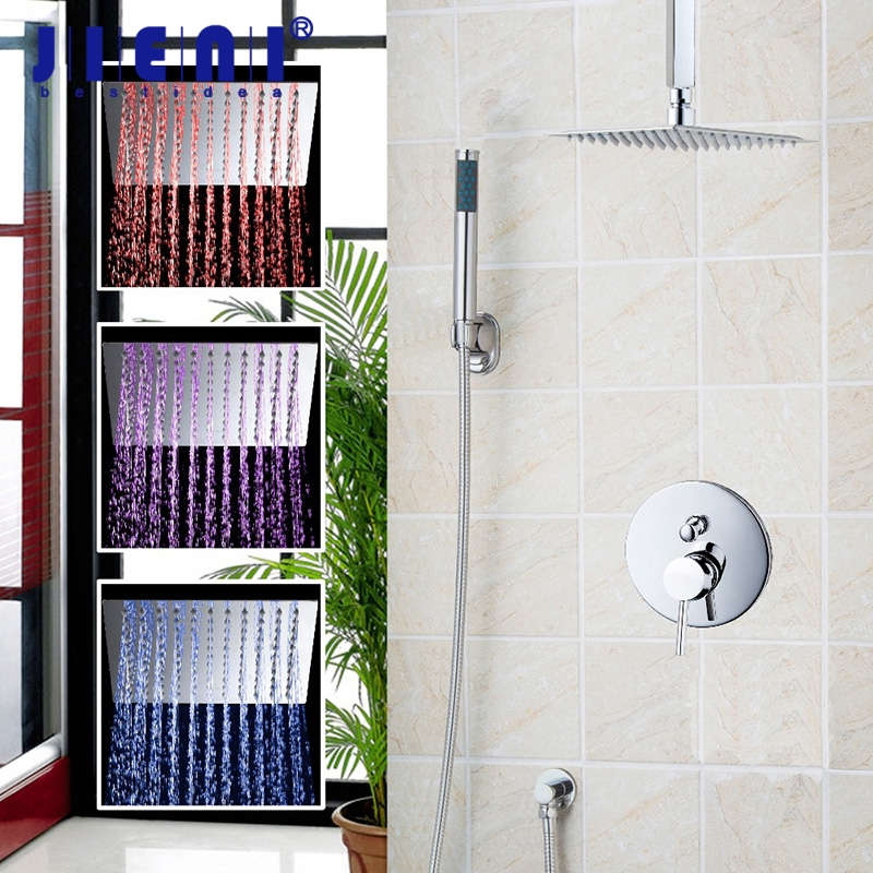 Great 8 LED Celing Mounted Rainfall Shower Head Set Hand Spray Mixer Shower Set Faucets 2 functions water Shower Mixer 8 chrome bathroom faucets bath shower tub led rainfall shower head w hand spray shower mixer set faucets