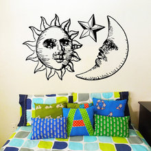 Newest Sun Moon Double With Stars Creative Wall Mural Sunshine And Night Symbol Fashion Style Home Decor D-206