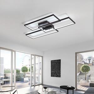 Image 5 - NEO Gleam Rectangle Black/White Color Modern Led Chandelier for living room bedroom 110V 220V deco Dimmable Ceiling Chandelier