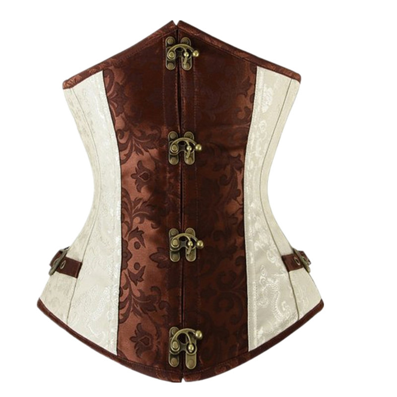 Steampunk   Corsets     Bustiers   Sexy Korset Brown Underbust Goth Buckle Pattern Corsetto Lingerie Under Bust   Corset