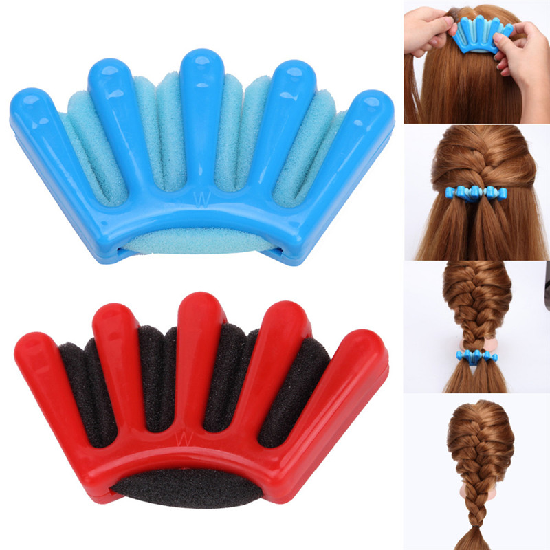 2 Colors Lady Girl's French Hair Braiding Tool Weave Sponge Plait Twist Hair Braider DIY Styling Tool Holder Hair Clip