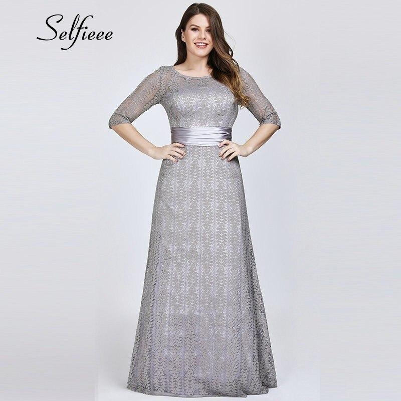 Elegant A Line Grey Lace Party Dress Women 2020 New Spring Elegant O Neck Half Sleeve Plus Size Dress Long Maxi Dress Robe Femme