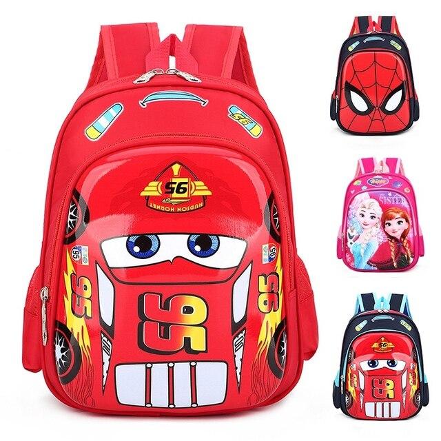 ディズニー車子供のバッグ、学校ミニバックパック少年少女漫画冷凍幼稚園ベビーバッグショルダープライマリ学生バッグ