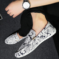 Boceto de lona de Los Hombres de costura de la moda Coreana blanco Oracle lienzo zapatos de doug hombres holgazanes zapatos de los planos