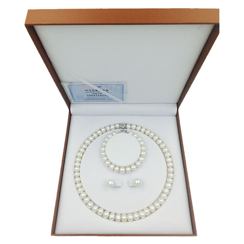 Sinya freshwater pearls bead necklace earring bracelet jewelry Set 18inch length necklace pearl dia 9 10mm