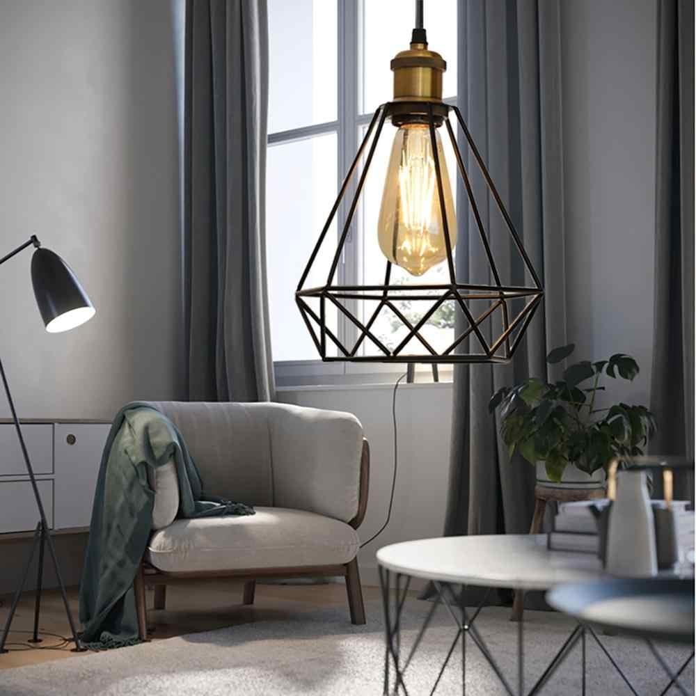ZhaoKe современный промышленный винтажный подвесной светильник в клетку железная Алмазная Пирамида кованая комнатная потолочная лампа подходит для ламп E27