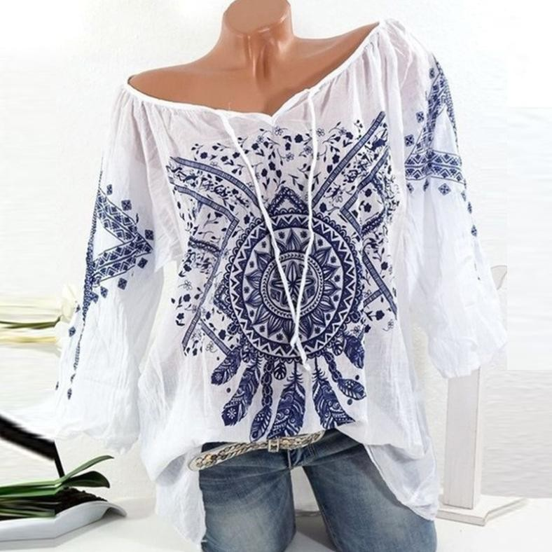 2018 Embroidery Long Sleeve Shirts Floral Button Top Summer