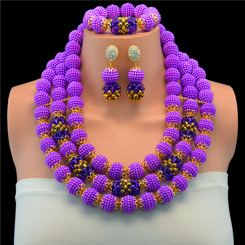 Dubai Gold-color Purple African Jewelry Sets Flower Statement Necklace Set Wedding Crystal Beads Jewelry Set Free ShippingDubai Gold-color Purple African Jewelry Sets Flower Statement Necklace Set Wedding Crystal Beads Jewelry Set Free Shipping