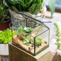 House Shape Geometric Terrarium Glass Indoor Planter Tabletop Bonsai Flowerpot Glass Cube