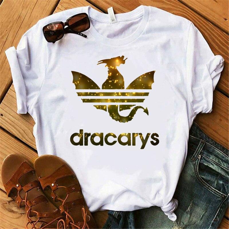 Showtly Cool Yellow Light Spot Dragon Print Women Short Sleeve Dracarys Female T-shirt Harajuku Causal Loose Women's T Shirt