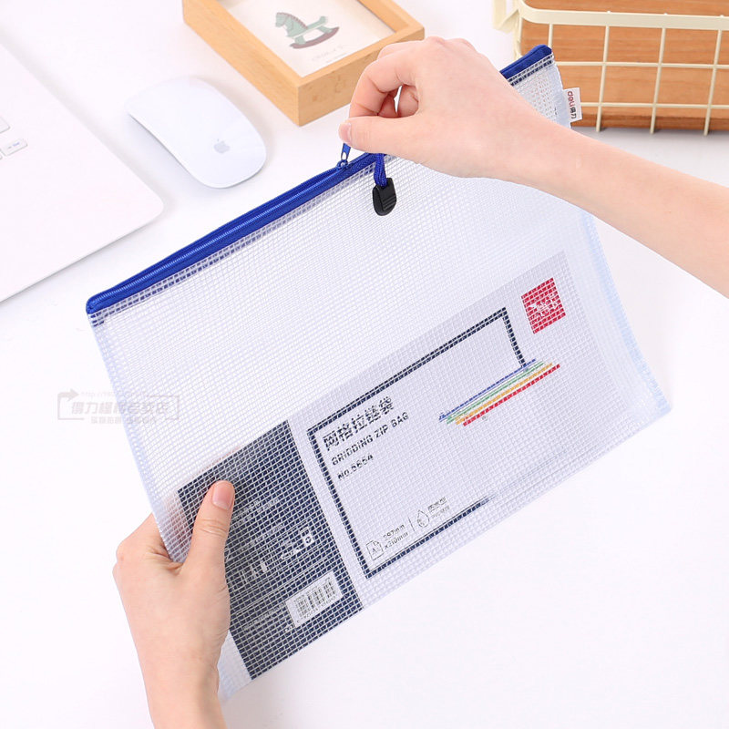 10pcs or 1pcs optional gridding waterproof Zi Pdocument Bag Filing Products Pocket Folder  Office School file folder Supplies 4