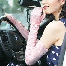 On Sale Fashion Women Sunscreen Gloves Female Lace Summer Finger Less Anti-UV Opera Long Sun Driving Glove New Listing UV017C