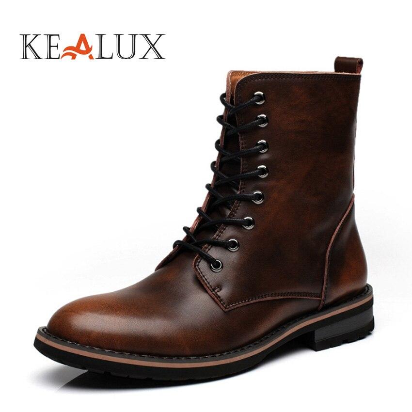 Kealux размер 38-44 bota masculina Мода Новая Мужская обувь черный, красный мотоботы весна/осень erkek Bot Винтажные ботинки ...