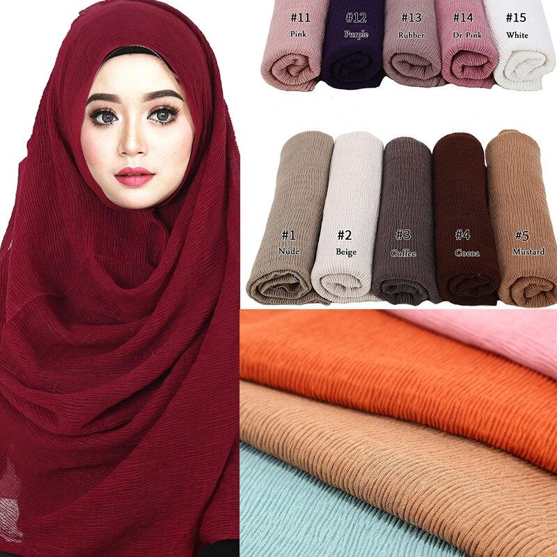 Womens Pleats Hijab Crinkle Scarf Plain Grid Viscose Muslim Scarves 180*90CM