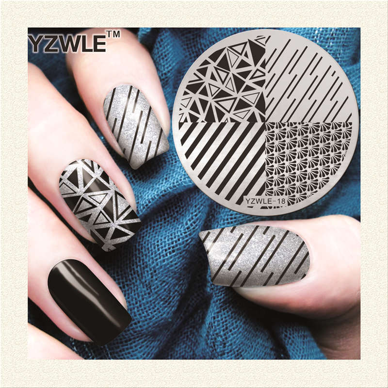 YZWLE 1 Sheet Stamping Nail Art Image Plate, 5.6cm Stainless Steel Template Polish Manicure Stencil Tools (YZWLE-18)
