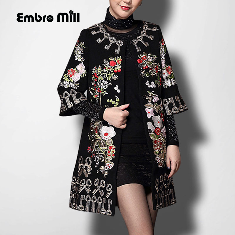 Vintage Royal Embroidery Autumn & Winter Woolen Coats Woman Windbreaker Elegant Lady Plus Size Loose Trench Coat Female S-5XL