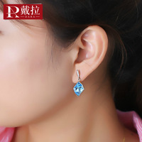 DARA High Quality Blue Crystal 925 Silver Drop Earrings Trendy Rhombus Earrings For Women Girls Engagement Party Jewelry Gift
