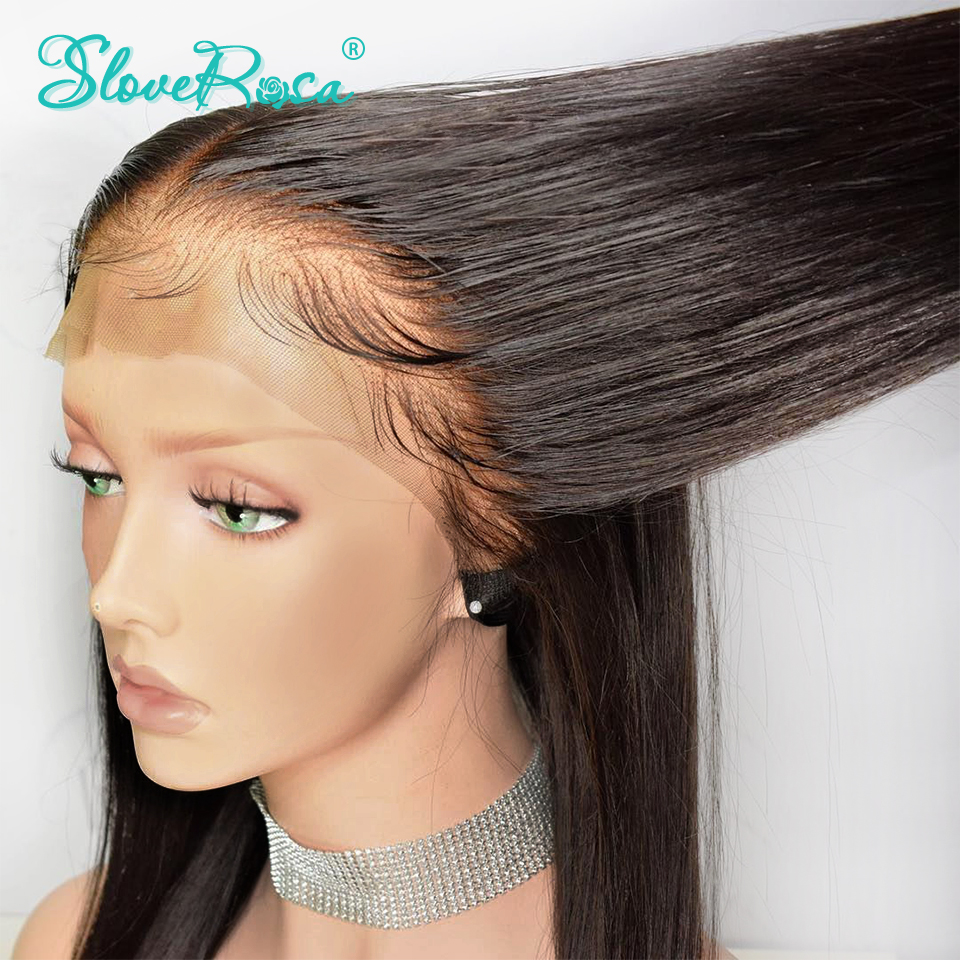 130% Density Straight 13X4 Lace Front Human Hair Wigs For Black Women Brazilian Remy Hair Pre Plucked Bleached Knot Slove Rosa-in Human Hair Lace Wigs from Hair Extensions & Wigs