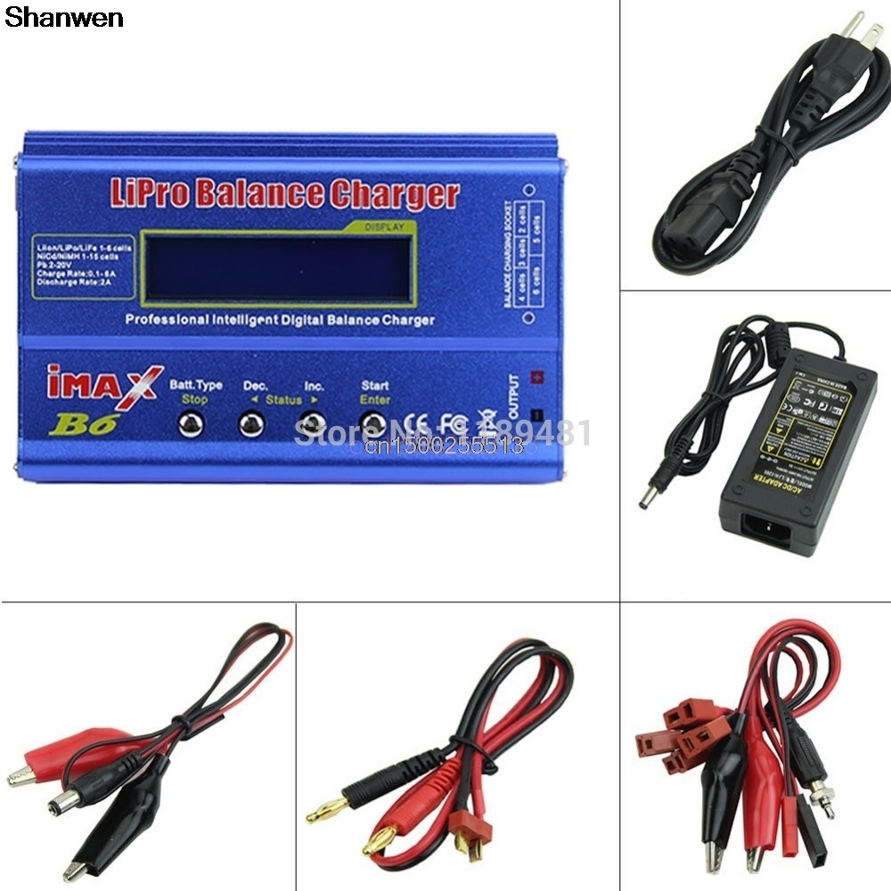 Imax B6 Lipo Nimh Nicd RC Battery Balance Charger Discharger+AC Adapter 1set imax b6 80w ac balance charger rc lipo nimh battery 12v 5a power adapter with b6 digital charger aluminium case