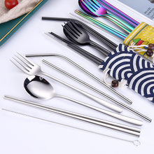 Stainless Steel Cutlery Set Chopsticks Fork Spoon Set Metal Straw Silver Dinner Set with Straw Bag for Portable Travel Flatware(China)