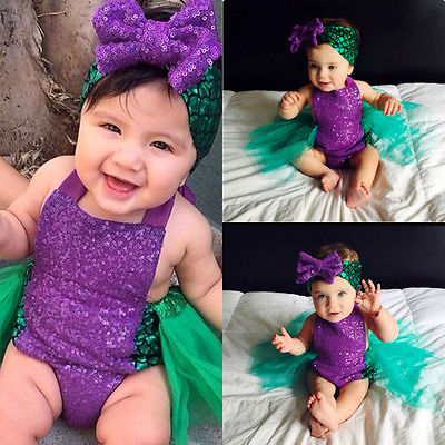 Sequin Baby Girls Mermaid Tulle Bodysuit Headband 2pcs Sunsuit Outfits Clothes Toddler Kids Skirted Bodysuits 0-24M