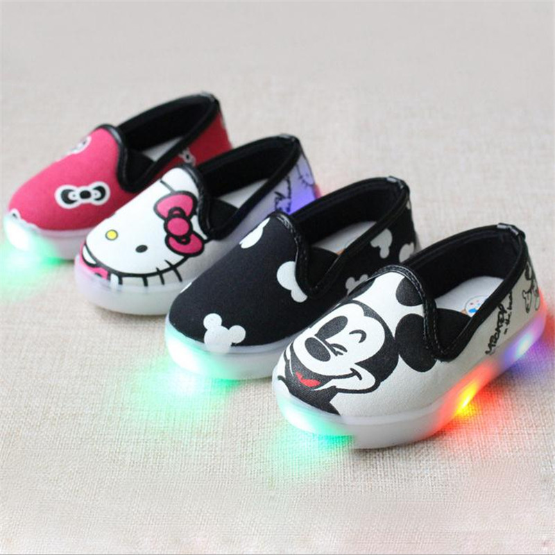 9b8dfc67b flash baby kids causal canvas shoes cute mickey hello kitty lighted flat  shoe for 1-6yrs children boys girls light canvas shoes