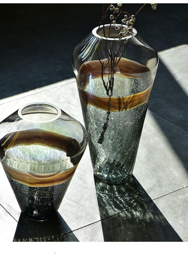 Luxury Ice Crack Glass Flower Vase - Home & Garden