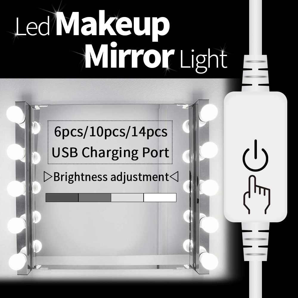 Gương LED Ánh Sáng Vanity Đèn LED USB Hollywood Trang Điểm Bàn Trang Điểm Gương 2 4 6 10 Bóng Đèn Treo Tường Đựng Mỹ Phẩm Đèn tạo Ánh Sáng