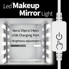 LED Mirror Light Vanity Lamp USB LED Hollywood Makeup Dressing Table Mirror 2 4 6 10Bulbs Wall Cosmetic Lamp Make Up Light Bulb giantex vanity set makeup dressing table tri folding mirror black stool 4 drawers home furniture hw59006bk