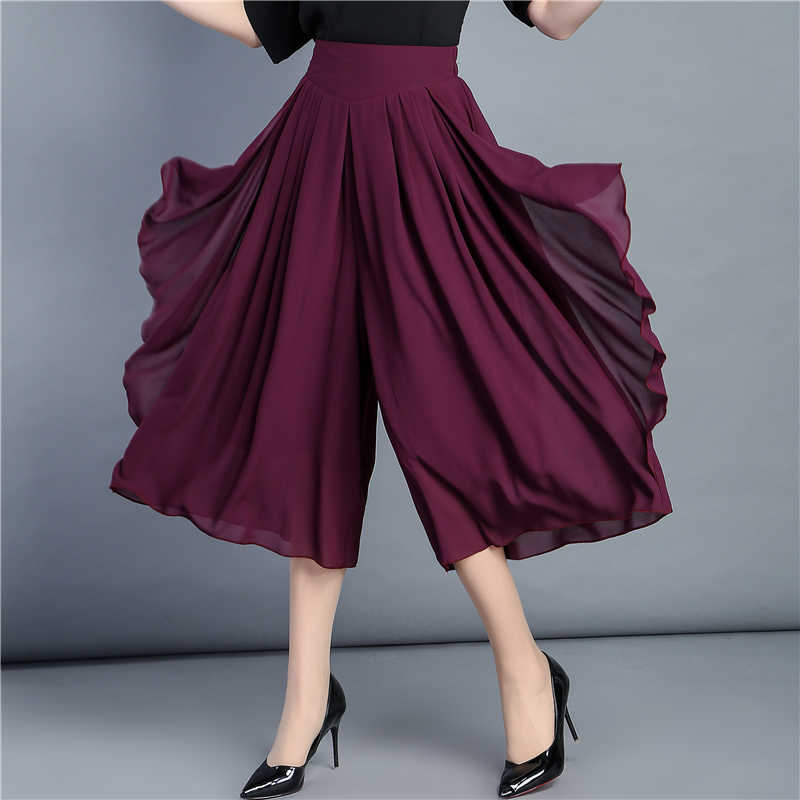 Summer Loose Chiffon shorts For Women Soft Wide Leg Shorts Skirts Femme Cool Trousers Office Lady Black Plus Size 6XL Pantalon