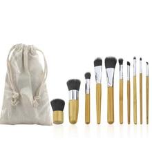 10Pcs Women Girl Bamboo Handle beauty Cosmetic Makeup Brushes Set Kits Eyeshadow eyeliner blending brush with bag ink wash painting handle cosmetic brush set 10pcs