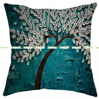 Linen Burlap 45cm 3D Artificial Calla Flower Print Decorative Pillow Cushion Cover In Home Sofa Bed