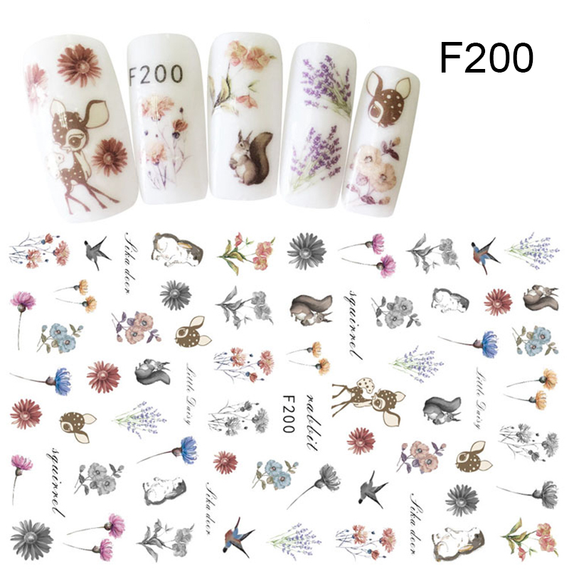 Image 3 - 1 Sheet 7.6*12.2cm Flower Series Daisy Lavender Nail Sticker Animal Series Ocean Cat Plant Transfer Sticker Manicure-in Stickers & Decals from Beauty & Health
