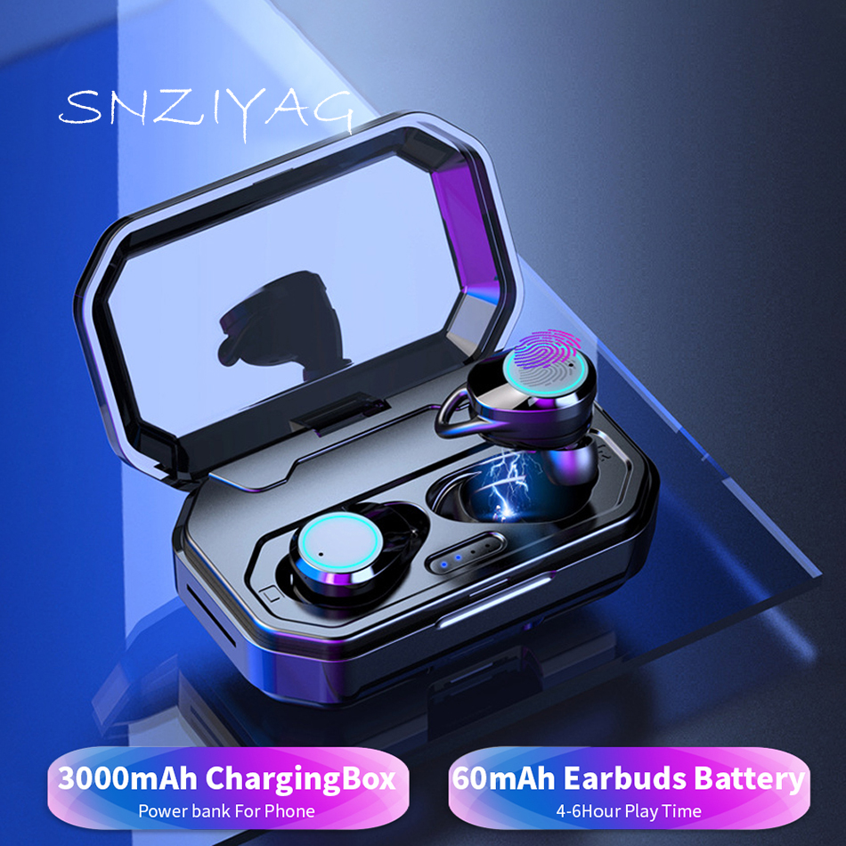 SNZIYAG Wireless Earphones Bluetooth V5.0 3D Touch IPX6 Outdoor Cordless Ear Earbuds with 3000 mAh Power bank For Xiaomi Airdot