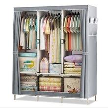 Двойной Тканевый шкаф из стальных трубок DIY сборочный шкаф для спальни, подвесной шкаф для хранения одежды, шкаф для хранения в общежитии