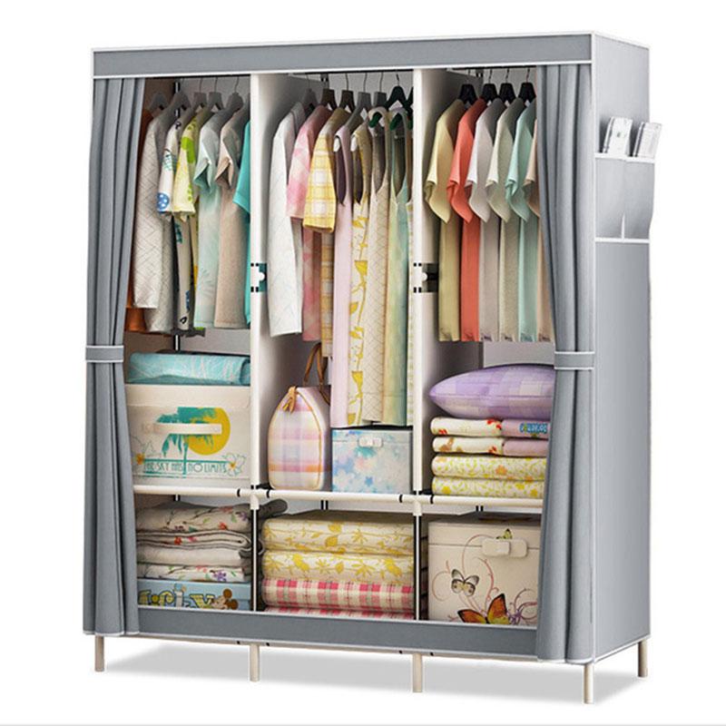 Tecido de vestuário de pano duplo tubo de aço diy conjunto armário roupas quarto pendurado armazenamento armário dormitório