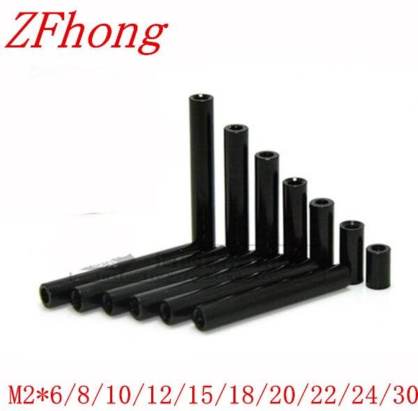 10 Stks M2 * 6/8/10/12/15/18/20/21/22/24/30 Draad Zwart Kleur Aluminium Ronde Standoff Spacer Voor Rc Onderdelen