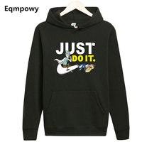 Eqmpowy Men Fleece Hooded Rick And Morty Hoodie Cartoon Anime Fans Hoodies Men Streetwear Sweat Homme
