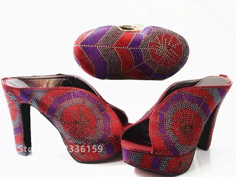Et Sac Chaussures bleu Décoré or Femmes Strass Noir Partie Rouge De Mariage pourpre Couleur rouge Africaine Ensembles Avec Nigérian trtISfxqZ