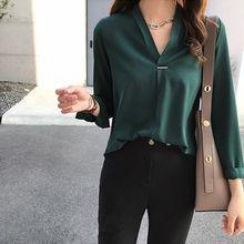 2019 office Lady Chiffon Blouse Shirt Summer Tops Long Sleeve V Neck Female Shirts