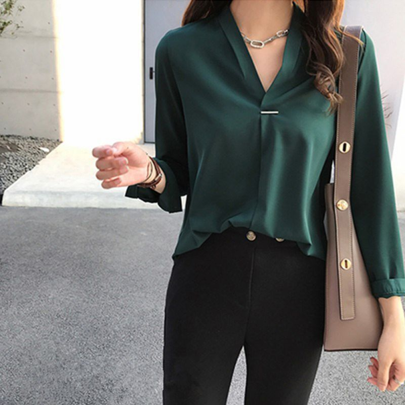 2019 office Lady Chiffon   Blouse     Shirt   Summer   Blouse   Tops Long Sleeve V Neck Female   Blouse