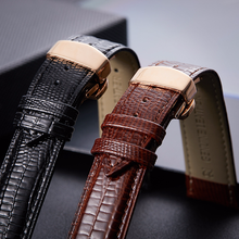 2019 New Genuine Leather Watchband Cow Leather Gold Butterfly Buckle Lizard Texture Watch Band 16mm 18mm 20mm 22mm все цены
