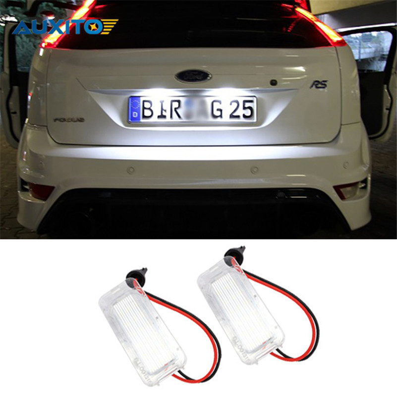 2X No Error 18LED SMD3528 Car LED License Plate Lights for Ford Focus DA3 DYB Fiesta JA8 Mondeo Mk4 Mk5 C-Max S-Max Kuga Galaxy 2pcs car led license plate lights 12v smd3528 number plate lamp bulb kit no error for ford mondeo mk2 fiesta fusion accessories