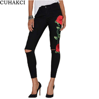 CUHAKCI New Black Embroidery Jeans Femme Red Flower Denim Pants High Waist Ripped Trousers For Women